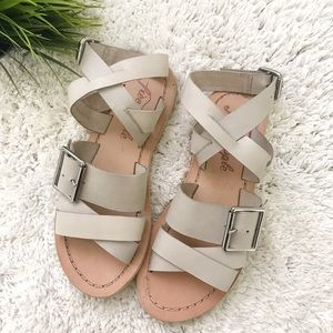 Free people leather flat sandal with buckle, white